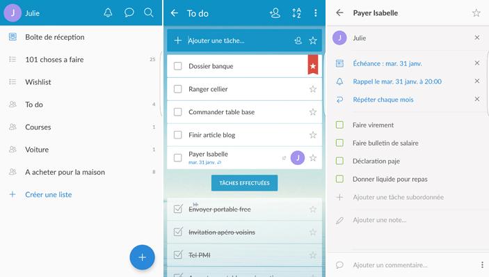 Applications android : Wonderlist, pour organiser nos listes