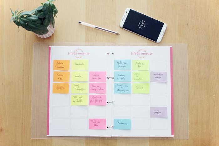 Planning menus à la semaine à imprimer