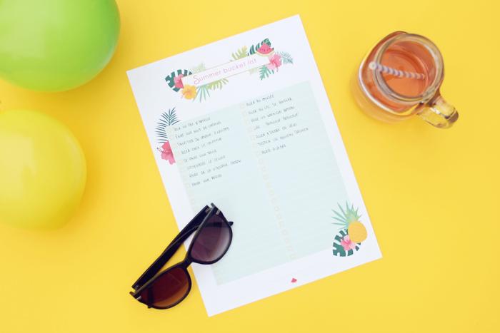 Summer bucket list : la liste de mes envies pour l'été printable