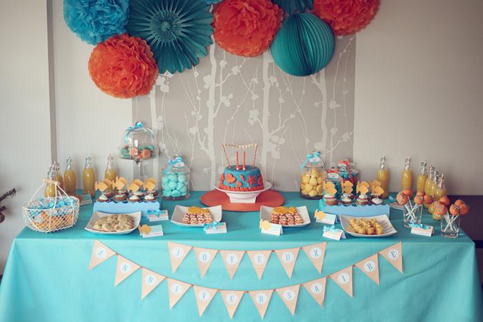 Sweet table anniversaire enfant la mer et les poissons