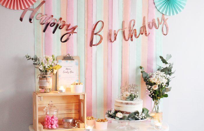 Ma déco d'anniversaire pour mes 30 ans en rose, pèche et mint