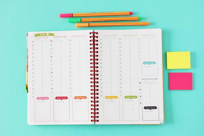 Présentation de l'agenda mon petit organisateur de vie - La semaine