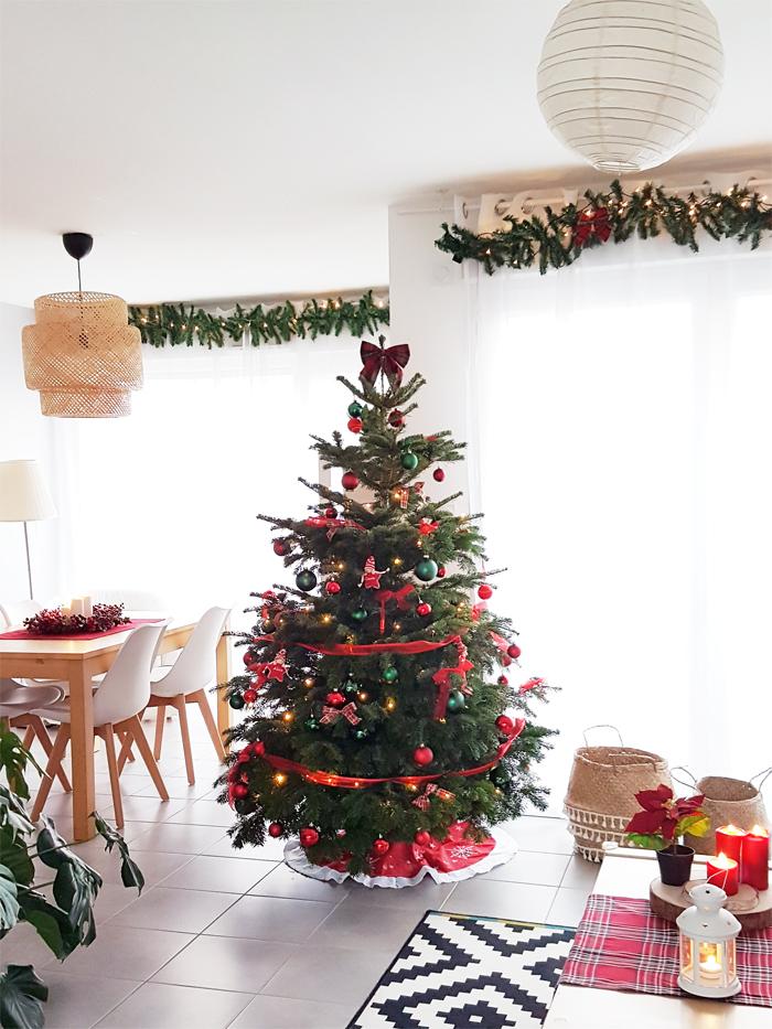 Ma décoration de Noël en rouge et vert, mon sapin