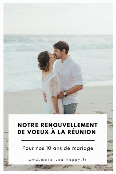 Notre renouvellement de voeux pour nos 10 ans de mariage sur la plage à la Réunion