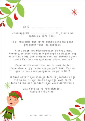 Lettre à télécharger pour votre elfe de noël Elf on the shelf