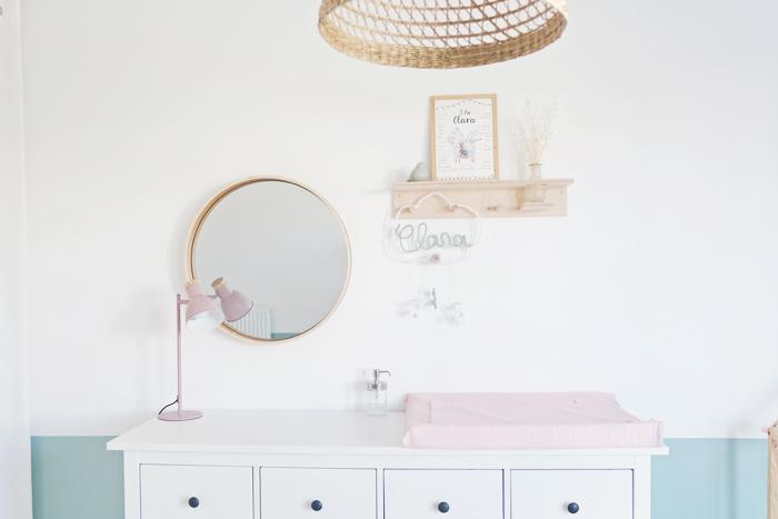 Chambre bébé vert et rose